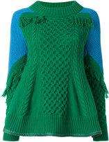 Sacai trellis knit frayed sweater