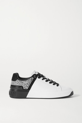 Balmain B-court Crystal-embellished Two-tone Leather And Suede Sneakers - White
