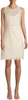 Elie Tahari Rosaleen Embroidered Basket Weave Dress