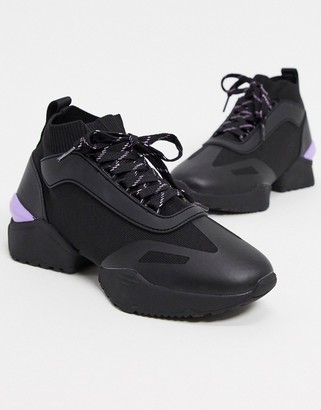 ASOS DESIGN Dalton chunky lace up sock trainers in black mix