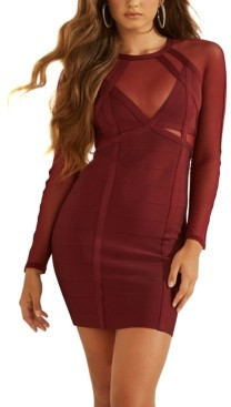 GUESS Karina Mesh Mix Bandage Dress
