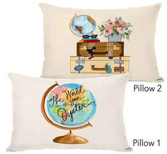 Ebern Designs Nicolao The World Is Your Oyster Copy and Travel Things Lumbar Pillow