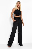 Thumbnail for your product : boohoo Luxe Drawstring Woven Wide Leg Jogger
