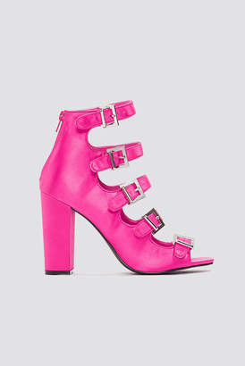 NA-KD Multi Buckle Satin Heels Pink