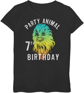 Star Wars Girls 7-16 Chewie Party Animal 7th Birthday Color Portrait Graphic Tee