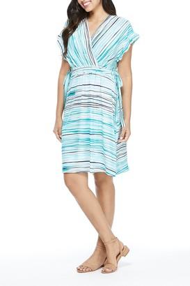 London Times Stripe Print Surplice Dress