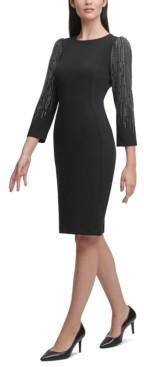 Calvin Klein Embellished Puff-Sleeve Sheath Dress