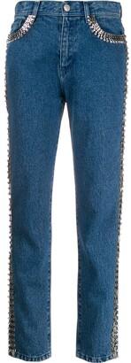 Christopher Kane Embellished Side-Stripe Jeans