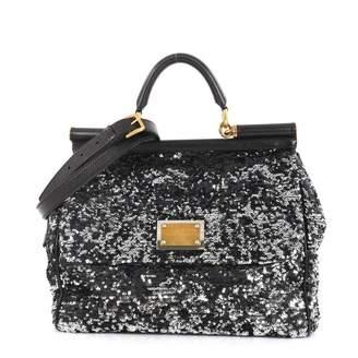 Dolce & Gabbana Sicily Black Glitter Handbags