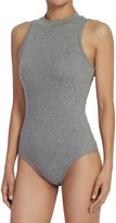 TheMogan Women's Sleeveless Mock Neck Cotton Thong Panty Bodysuit, Dusty Plum, M
