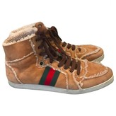 Gucci Ace Camel Suede Trainers