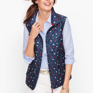 Talbots Diamond Quilted Vest - Heart Print