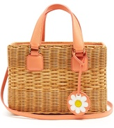 Mark Cross Manray small rattan and leather tote