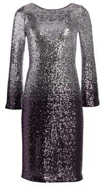 Teri Jon by Rickie Freeman Long-Sleeve Sequin Cocktail Shift Dress