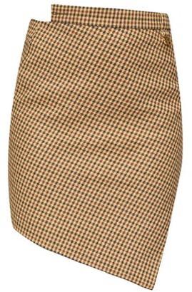 Balenciaga Asymmetric Houndstooth Wool-blend Skirt - Beige