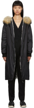 Yves Salomon Army Black Down and Fur Hooded Coat