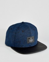 Asos Snapback Cap In Navy Tweed With Contrast Peak
