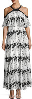 Taylor Embroidered-Chiffon Cold-Shoulder Maxi Dress, White/Black