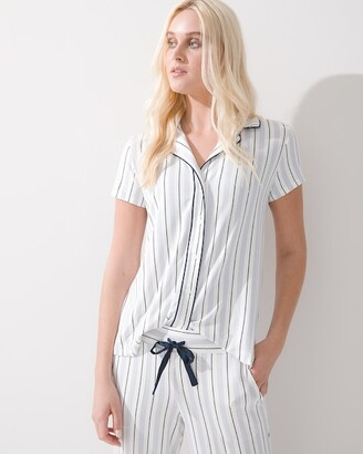 Soma Intimates Cool Nights Short Sleeve Notch Collar Pajama Top