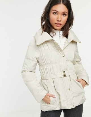 New Look short ruched padded coat-White