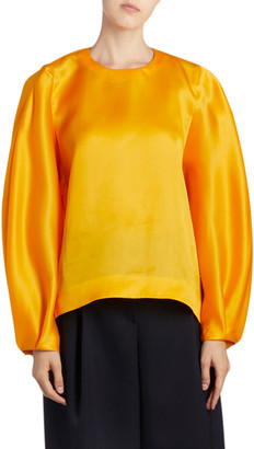 Nina Ricci Silk Long-Sleeve Top