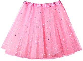 Beetlenew Womens Dress Women Tutu Skirts Sequin Tulle Ballet Skirt Sparkling Dancing Dress-Up Skirt Casual Mini Skirt Fancy Party Dress Adult Mesh Dancewear Petticoat Underskirt Princess Short Skirt (One Size