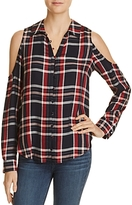 Paige Bellini Plaid Cold-Shoulder Top