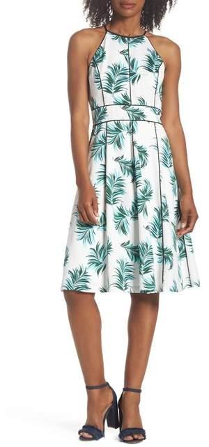 Adelyn Rae Mina Print Fit & Flare Halter Dress