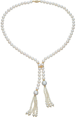 BELPEARL 14K 11-6Mm Freshwater Pearl Tassel Necklace