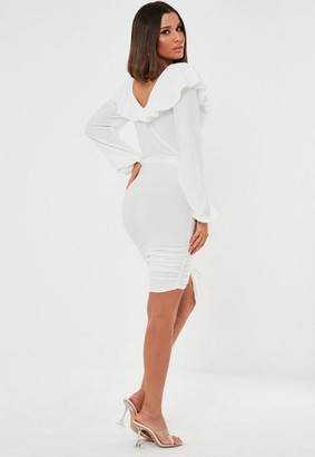 Missguided White Textured Ruched Mini Dress