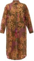 Mes Demoiselles Amaranto Floral-print Cotton-blend Shirtdress - Womens - Green Print