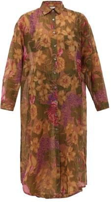 Mes Demoiselles Amaranto Floral-print Cotton-blend Shirt Dress - Womens - Green Print