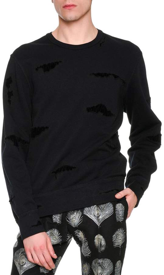Alexander McQueen Distressed Patched Pullover Sweatshirt