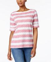 Karen Scott Petite Floral-Stripe Top, Created for Macy's