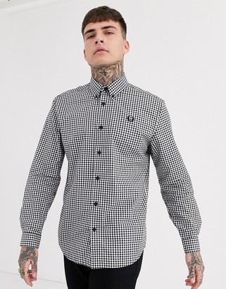 Fred Perry button down collar gingham shirt in black and white