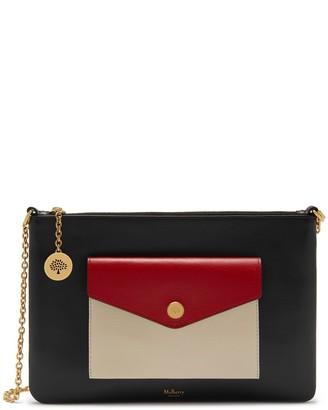 Mulberry Large Pouch with Chain Black, Scarlet and Chalk Smooth Calf