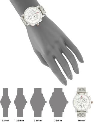 Michele Logo Diamond Stainless Steel Bracelet Watch