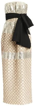 Carolina Herrera Sequin Beaded Strapless Tie-Waist Sheath Dress