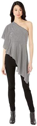 Halston One Shoulder Drape Top (Linen White/Black Milesian Stripe) Women's Clothing