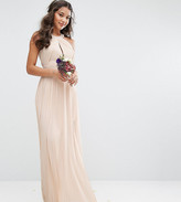 TFNC bridesmaid exclusive pleated maxi dress in pearl pink