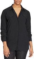 Lauren Ralph Lauren Plus Point Collar Long Sleeve Button-Up Work Shirt