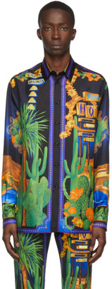Versace Multicolor Silk Palm Springs Shirt
