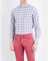 Corneliani Checked Tailored-fit Spread Collor Pure-cotton Shirt