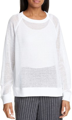 Eileen Fisher Sheer Cotton Mesh Pullover