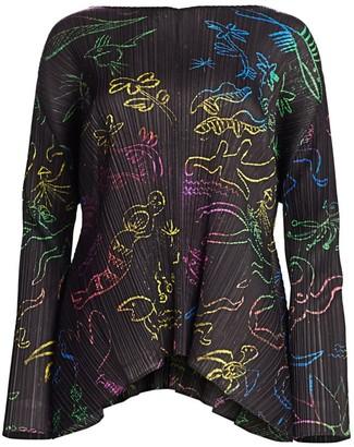 Pleats Please Issey Miyake In Her Dreams Printed Long Sleeve Top