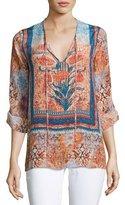 Tolani Virginia V-Neck Printed Tunic, Tuscany, Plus Size
