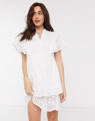 Vero Moda broderie mini dress with flutter sleeves in white