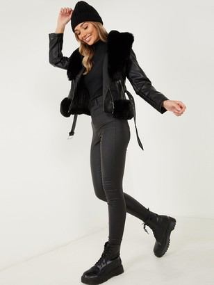 Quiz PU Faux Fur TrimBiker Jacket - Black