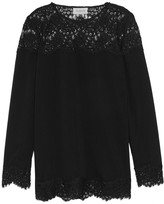 Zimmermann Lace-paneled washed-crepe top