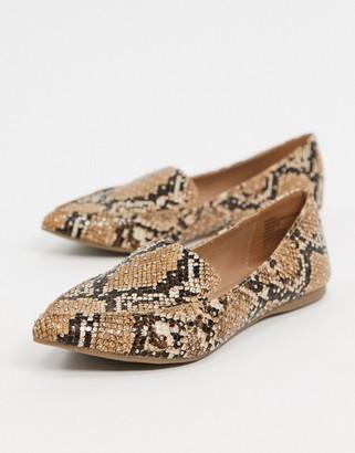 Steve Madden flat loafers in natural snake